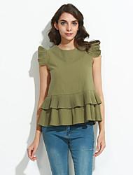 Mulheres Camisa Casual Simples Verão,Sólido Branco / Verde Linho Decote Redondo Sem Manga Opaca