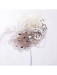 Dentelle Strass Plume Filet Coiffure Casque
