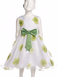 cheap -Girl's Daily Going out Floral Dress, Polyester All Seasons Sleeveless Floral Bow Green