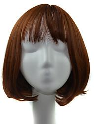 Short Bob Air Bang Curly Synthetic Wig for Women Light Brown Heat Resistant Hair