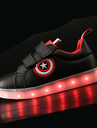 Boys' Shoes PU Fall Winter Comfort Light Up Shoes Sneakers LED For Athletic White Black