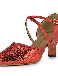 "cheap -Women's Latin Modern Paillette Leatherette Heel Indoor Performance Professional Beginner Sequin Chunky Heel Red 3"" - 3 3/4"" Non"