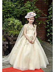 Ball Gown Floor Length Flower Girl Dress - Tulle Charmeuse Sleeveless V-neck with Beading Lace Sash / Ribbon Side Draping by Huaxirenjiao