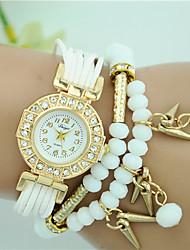 abordables -Femme Quartz Bracelet de Montre Grosses soldes Tissu Bande A Perles Mode Noir Blanc Bleu Rouge Marron Rouge Rose