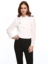 cheap -Women's Solid Red / White / Black Blouse,Shirt Collar Long Sleeve