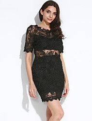 Women's Lace Embroidered Lace V Back Club Party Dress