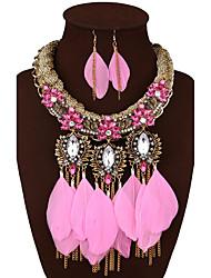 abordables -Mujer Lujo Joyería Destacada Boda Fiesta Diario Piedras preciosas sintéticas Legierung Pluma 1 Collar 1 Par de Pendientes