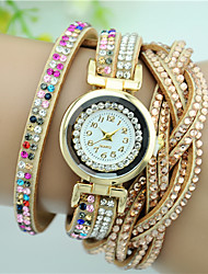 Women's Fashion Watch Bracelet Watch Quartz Rhinestone Imitation Diamond Colorful Leather Band Charm Flower Black White Blue Pink