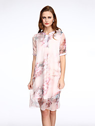 cheap -Women's Plus Size Going out Loose Dress Layered Print