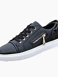 Herrer Sneakers Komfort PU Forår Efterår Komfort Snøring Flad hæl Hvid Sort Flad