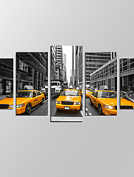 VISUAL STAR®New York Taxi Picture Giclee Artwork 5 Panels Modern Home Wall Decoration Framed Canvas Print Ready to Hang
