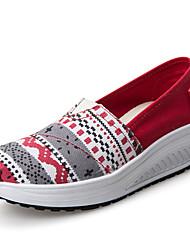 Damen-Loafers & Slip-Ons-Lässig-Leinwand-KeilabsatzRot Hellblau