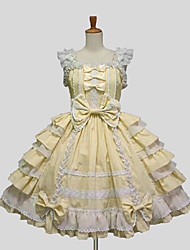 cheap -Sweet Lolita Dress Princess Women's Dress Cosplay White Black Purple Yellow Blue Cap Sleeveless Knee Length