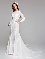bainha / coluna jóia pescoço tribunal trem linho vestido de noiva de renda por huaxirenjiao