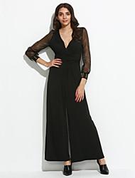 Women's Wide Leg Black Embellished Cuffs Long Sleeves Jumpsuit