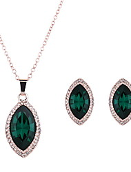 Damen Schmuckset Synthetischer Smaragd Krystall Aleación 1 Paar Ohrringe Halsketten Für Hochzeit Party Alltag Normal Hochzeitsgeschenke
