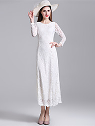 Women's Lace/Backless Sexy Lace Halter Hollowing Round Neck Long Sleeve Party Long Dress