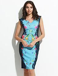 Moulante Robe Femme Sortie Sexy,Imprimé Coeur Mi-long Sans Manches Polyester Eté Taille Normale Micro-élastique Moyen