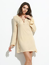 Women's Casual/Daily Sexy Sheath DressSolid V Neck Above Knee Long Sleeve Beige / Black Cotton