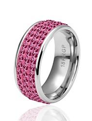 Bague Zircon cubique Zircon Plaqué argent Imitation de diamant Rose Bijoux Quotidien Décontracté 1pc