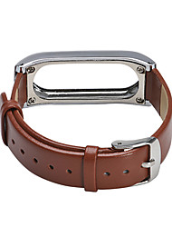 cheap -For Millet Bracelet 2 Genuine Leather and Metal Frame Wristband Replacement for Xiaomi MiBand 2 Wrist Strap