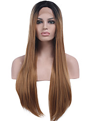 cheap -Heat Resistant Synthetic Lace Front Wigs Long Straight Hair Two Tone Ombre T1B/Brown Color Synthetic Hair Fiber Wig For Fashion Woman