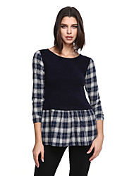 Women's Going out Casual/Daily Street chic Shift Dress,Plaid Round Neck Above Knee Long Sleeve Gray Cotton Polyester Fall Mid Rise