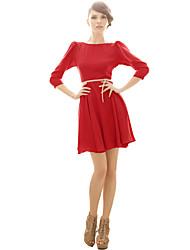 Patineuse Robe Femme Soirée / Cocktail Sexy Vintage,Couleur Pleine Bateau Au dessus du genou Manches ¾ Rose Rouge Beige Noir Jaune