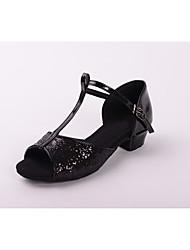 Kids' Dance Shoes Leatherette Paillette Latin Salsa Sandals Low Heel Practice dance shoes Beginner Professional Customizable