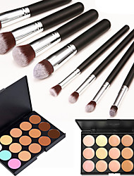 cheap -8PCS Silver Black Handle Cosmetic Makeup Brush Set&15 Colors Natural Concealer(2 Color Concealer Choose)