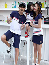 cheap -Daily Striped Clothing Set, Cotton Summer Short Sleeves Blue