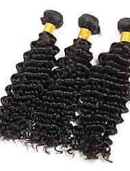 Cappelli veri Brasiliano Ciocche a onde capelli veri Onda riccia Extensions per capelli 3 pezzi Nero