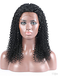 Top Grade Virgin Human Hair Full Lace Wig Kinky Curly Hair Natural Black Color 100% Brazilian Virgin Hair Lace Wig For Black Woman