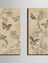 E-HOME Stretched Canvas Art Retro Pattern And Butterfly Decoration Painting Set Of 2