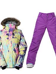 cheap -Ski Wear Ski/Snowboard Jackets Women's Winter Wear Polyester Winter ClothingWaterproof Thermal / Warm Windproof Fleece Lining Ultraviolet