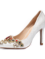 cheap -Women's Shoes Glitter Spring / Summer Heels Stiletto Heel Pointed Toe Rhinestone / Imitation Pearl / Appliques White / Black / Silver / Wedding / Party & Evening