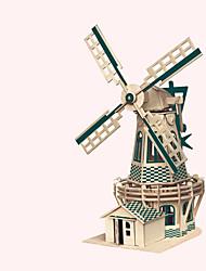 abordables -Puzzles en bois Moulin à vent Moulin à vent Bâtiment Célèbre Architecture Chinoise Maison Niveau professionnel En bois 1pcs Enfant Garçon
