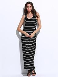Women's Casual/Daily Bodycon Dress,Striped Off Shoulder Midi Sleeveless Blue / Black / Gray Cotton Summer