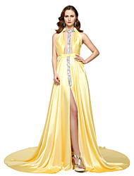 cheap -A-Line Halter Floor Length Chiffon Satin Formal Evening Dress with Beading Sash / Ribbon Pleats by TS Couture®