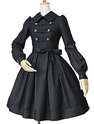 Une Pièce/Robes Gothique Lolita Classique/Traditionnelle Rétro Elégant Victorien Rococo Princesse Cosplay Vêtrements Lolita Couleur Pleine