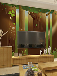 JAMMORY Art DecoWallpaper For Home Wall Covering Canvas Adhesive required Mural Cartoon Trees in The Forest XL XXL XXXL