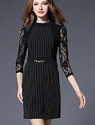 cheap -Women's Sophisticated Lace / Little Black Dress - Striped Lace