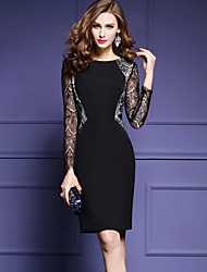 cheap -Women's Plus Size Going out Sophisticated Street chic Sheath Dress - Patchwork Black, Lace