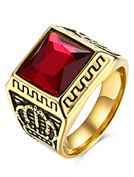 cheap -Men's Ring - Stainless Steel Crown Personalized, European 9 / 10 / 11 Black / Red For Party / Daily / Casual