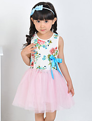 Girl's Cotton Fashion Sunshine Summer Going out Casual/Daily Floral Print Lace Sweet Sleeveless Princess Dress