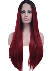 Black Root Synthetic Hair Fiber Wig Long Straight Hair Heat Resistant Two Tone Ombre Black/Dark Wine Synthetic Lace Front Wigs With Adjustable Strap