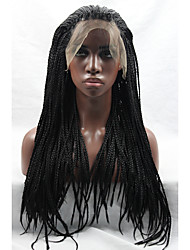 cheap -Long Black Wig Micro Braided Glueless Lace Front Wig Heat Friendly Synthetic Wigs