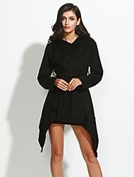 preiswerte -Damen Solide Übergröße Mantel,Winter Mit Kapuze Langarm Schwarz Mittel Wolle / Baumwolle