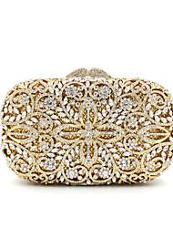baratos -Mulheres Bolsas Metal Bolsa de Festa Cristal / Strass Dourado / Rhinestone Crystal Evening Bags