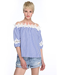 Women's Off The Shoulder|Fine Stripe Casual/Daily Street chic Summer Blouse,Striped Boat Neck ¾ Sleeve Blue Acrylic Medium